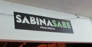 """Sabina Sabe"" shop on the zócalo, featuring mezcal. (Photo, S. Wood, 2014.)"
