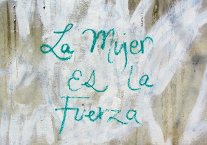 "Graffiti in Oaxaca, ""Woman is the force."" (Photo, S. Wood, 2014)"