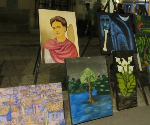 Copy of one of Frida Kahlo's self-portraits. For sale on Macedonio Alcalá, July 2014.