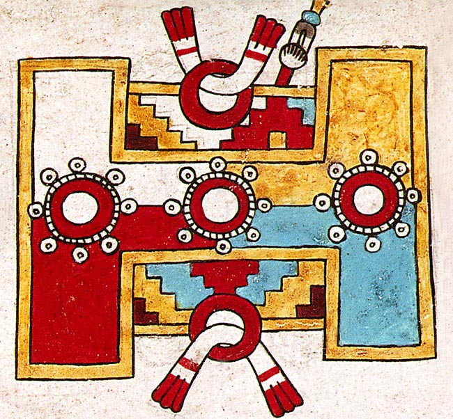Codex Zouche Nuttall, detail of a ball court.