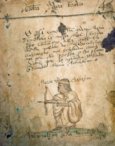 A portrait of Achichina in the Codex Cardona, possibly a late-colonial manuscript in private hands.