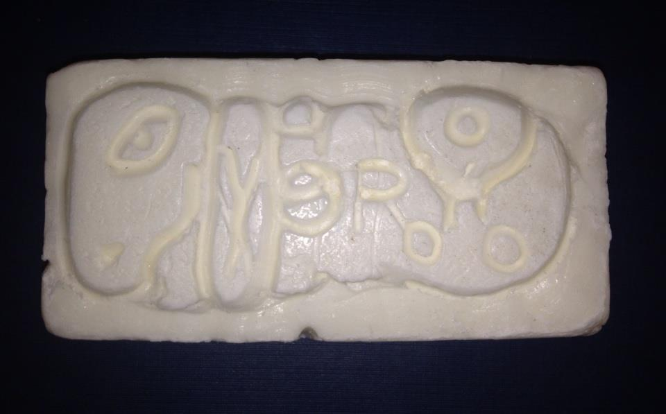 NEH Summer Scholar (2010) Pearl Lau has her art students carve Maya glyphs in bars of soap. (Photo, P. Lau, 2014)