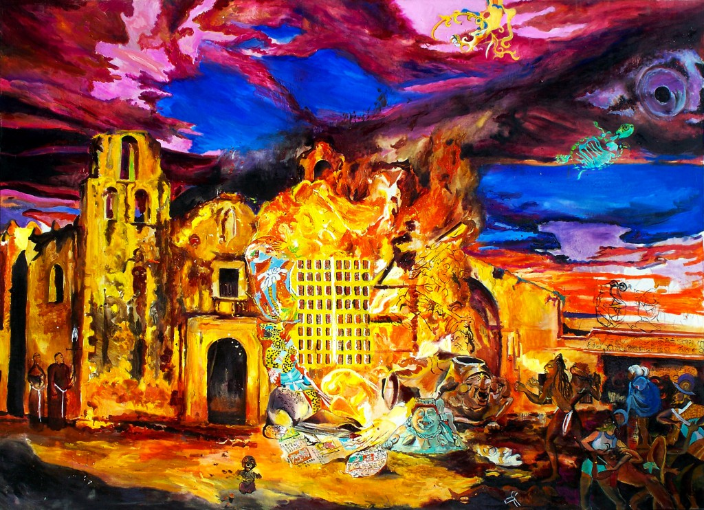 Another image of burning codices, a work of art by Carlos Andujar.