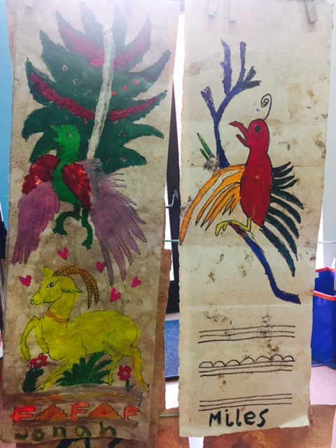 Amate paintings created by U.S. youth in a workshop at the museum of art at the University of Oregon, 2015.