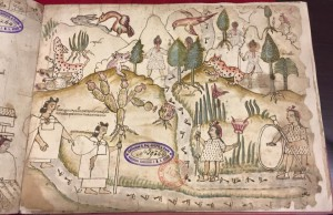 Migration scene showing the mountainous region near Chicomoztoc, and women with shawls full of important cultural objects.  From the Codex Azcatitlan, housed at the National Library in Paris. Posted to Facebook in March 2015.