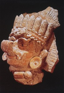 Fragment of a large urn.  Photo shared by Bryan Just.  Note the maize cobs in the headdress.