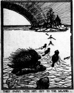 "Image shows beavers swimming to an island, with a caption that reads: ""They swam with him out to the island."""