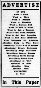 Advertisement to increase advertising in the newspaper