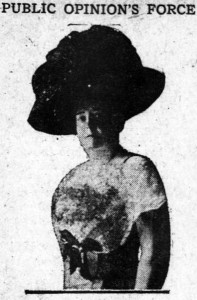 "Image of a woman, with caption that reads ""Public Opinion's Force"""