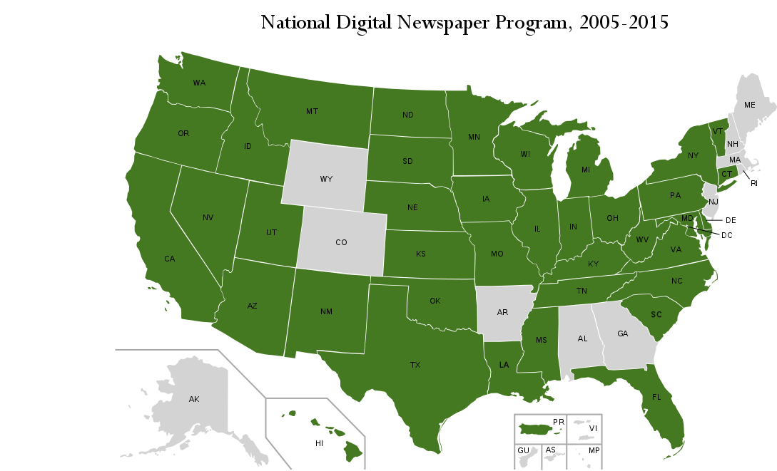 Map of All NDNP Awardees, Current as of 2015.