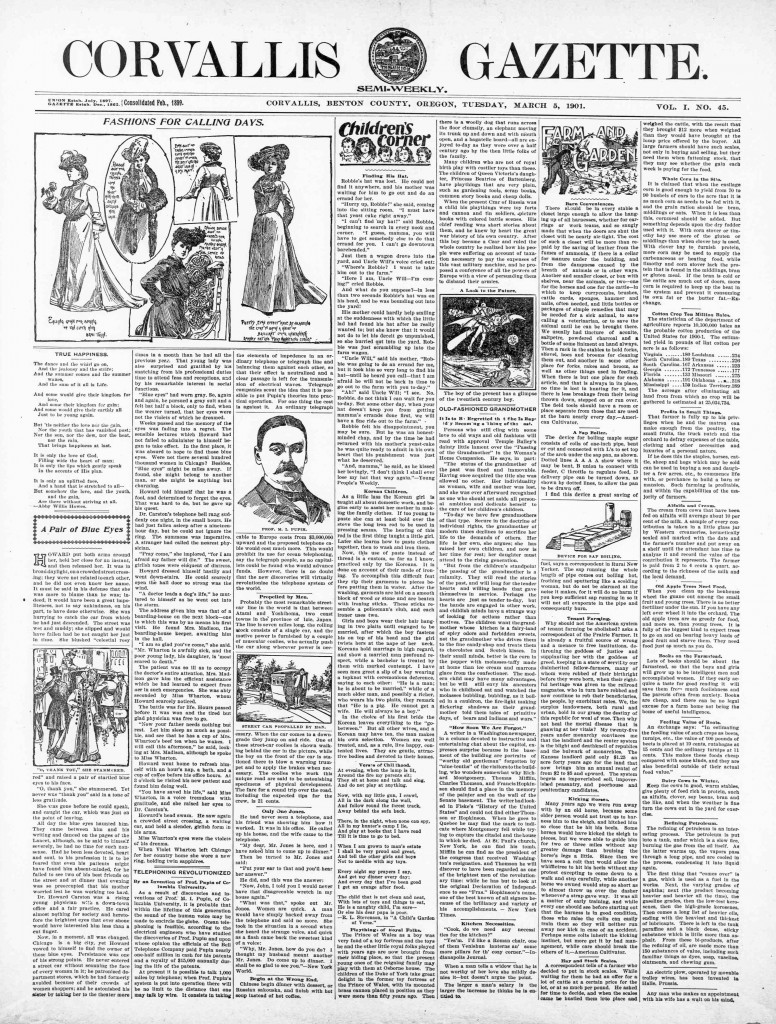 Corvallis Gazette (Corvallis, Benton County, Or.) March 5, 1901, Image 1. http://oregonnews.uoregon.edu/lccn/sn93051660/1901-03-05/ed-1/seq-1/