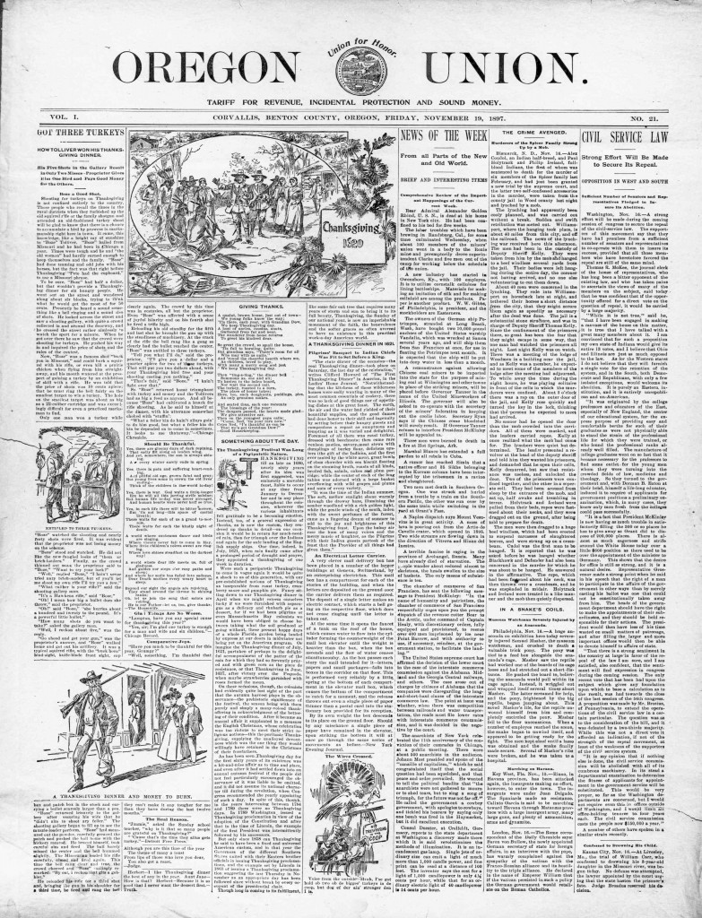 Oregon union. (Corvallis, Benton County, Or.) November 19, 1897, Image 1. http://oregonnews.uoregon.edu/lccn/sn85042402/1897-11-19/ed-1/seq-1/