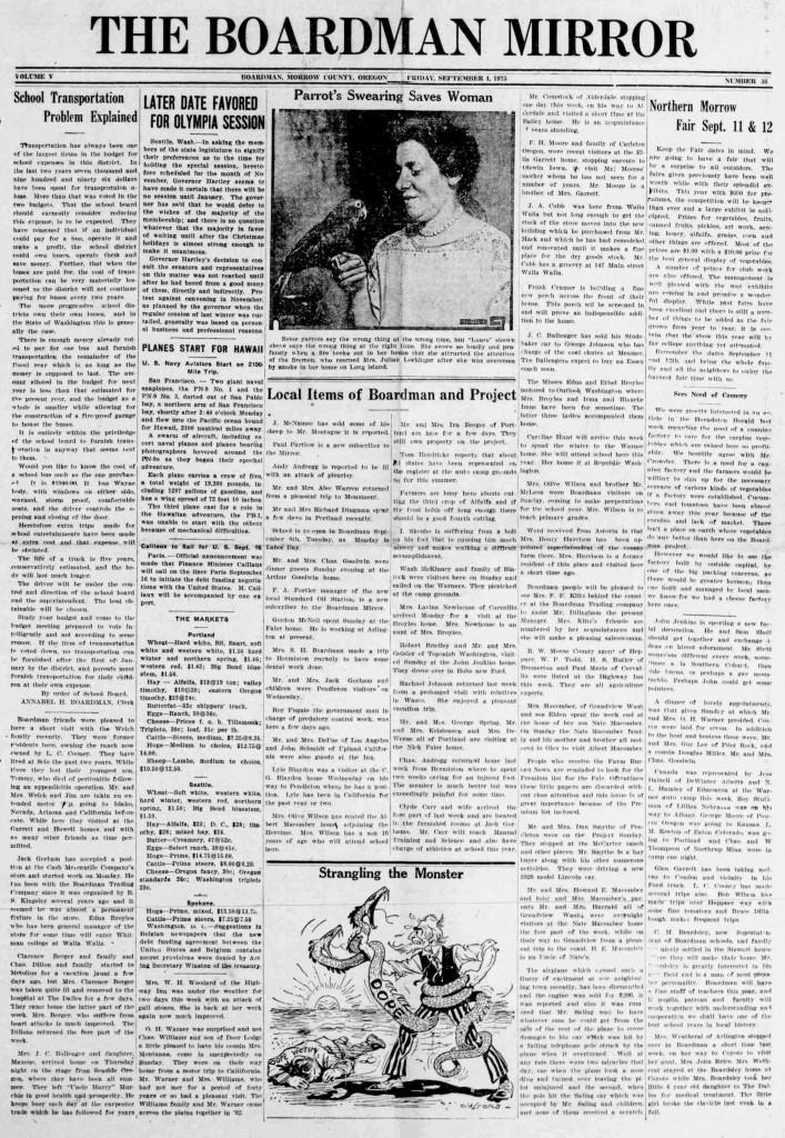 Boardman mirror. (Boardman, Or.) September 4, 1925. Image 1. http://oregonnews.uoregon.edu/lccn/sn96088002/1925-09-04/ed-1/seq-1/