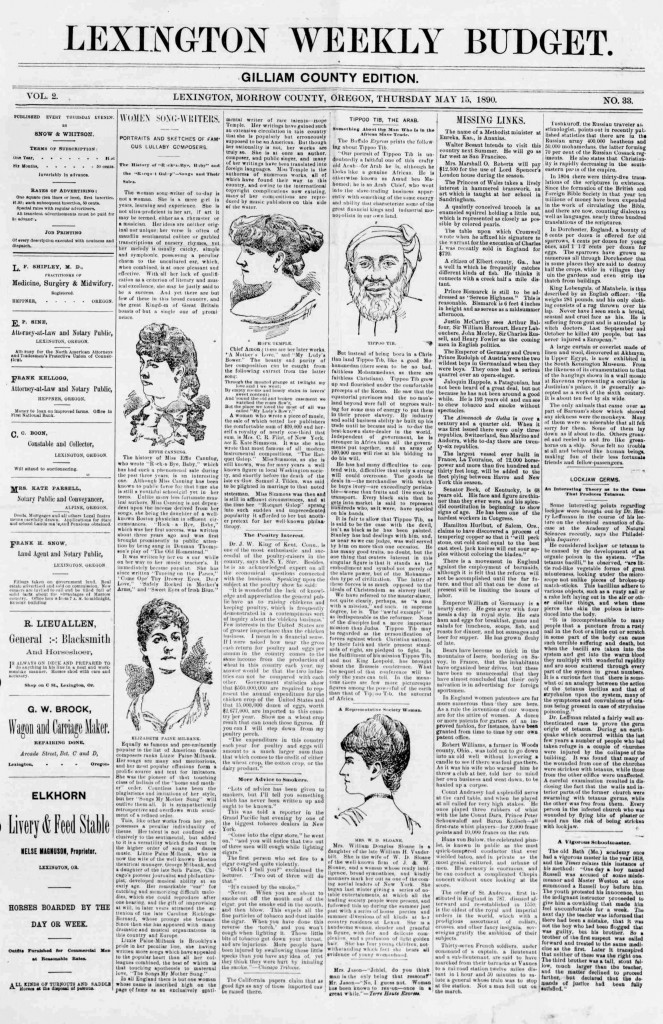 Lexington weekly budget. (Lexington, Morrow County, Or.) May 15, 1890. Image 1. http://oregonnews.uoregon.edu/lccn/sn97071051/1890-05-15/ed-1/seq-1/