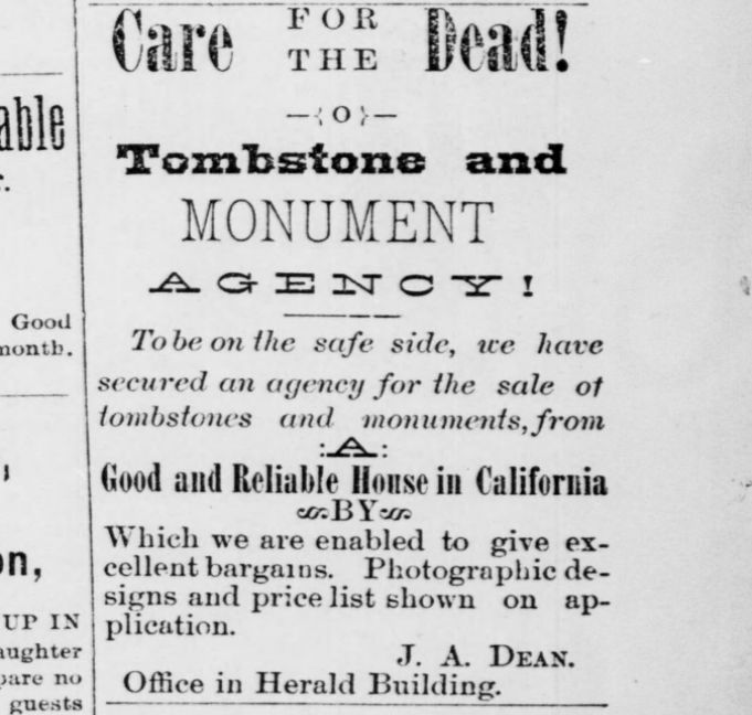 Coquille Tombstones Ad