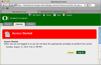 UO Blackboard: Instructors using Safari — «Access Denied