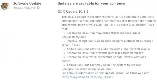 Mountain Lion update 10.8.1