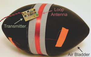 A football bladder wrapped with a loop antenna connected to a transmitter