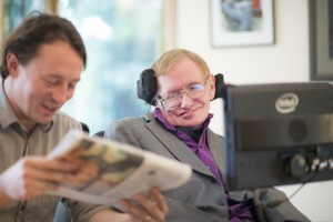 Stephen Hawking with his caretaker Pete. Photo from Intel press release.