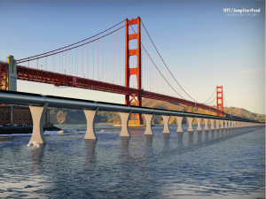 Hyperloop concept art near the Golden Gate Bridge and Fort Point in San Francisco.