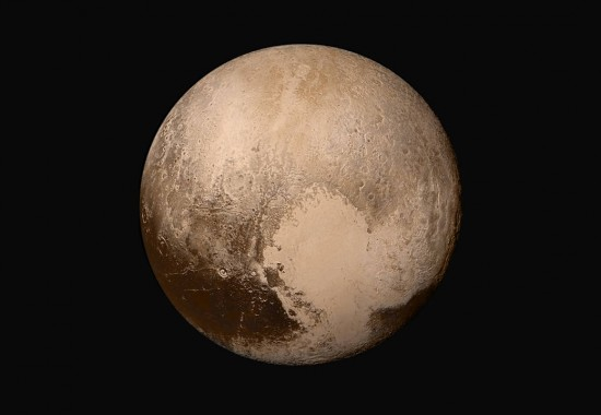 This image is a mosaic of the dwarf planet Pluto in true color.