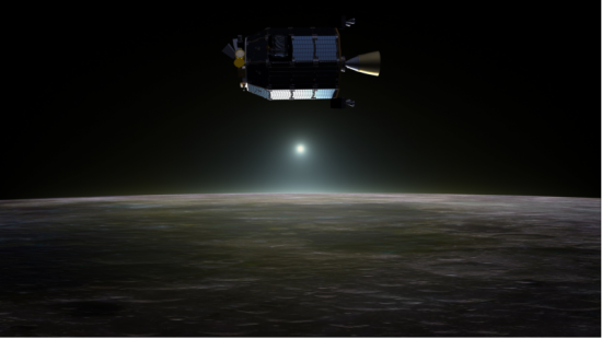Artist's concept of NASA's Lunar Atmosphere and Dust Environment Explorer (LADEE) spacecraft in orbit above the moon. Credit: NASA Ames / Dana Berry