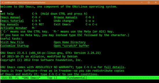 This is the GNU Emacs program running on an Ubuntu image with Windows.