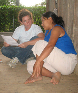 Ruby Fried interviewing Shuar woman