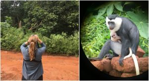Left: Diana Christie with binoculars. Right: A monkey and baby.