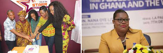 Left: Some of my coworkers at Starr FM Right: Ghana's Minister for Gender, Children and Social Protection, Nana Oye Lithur