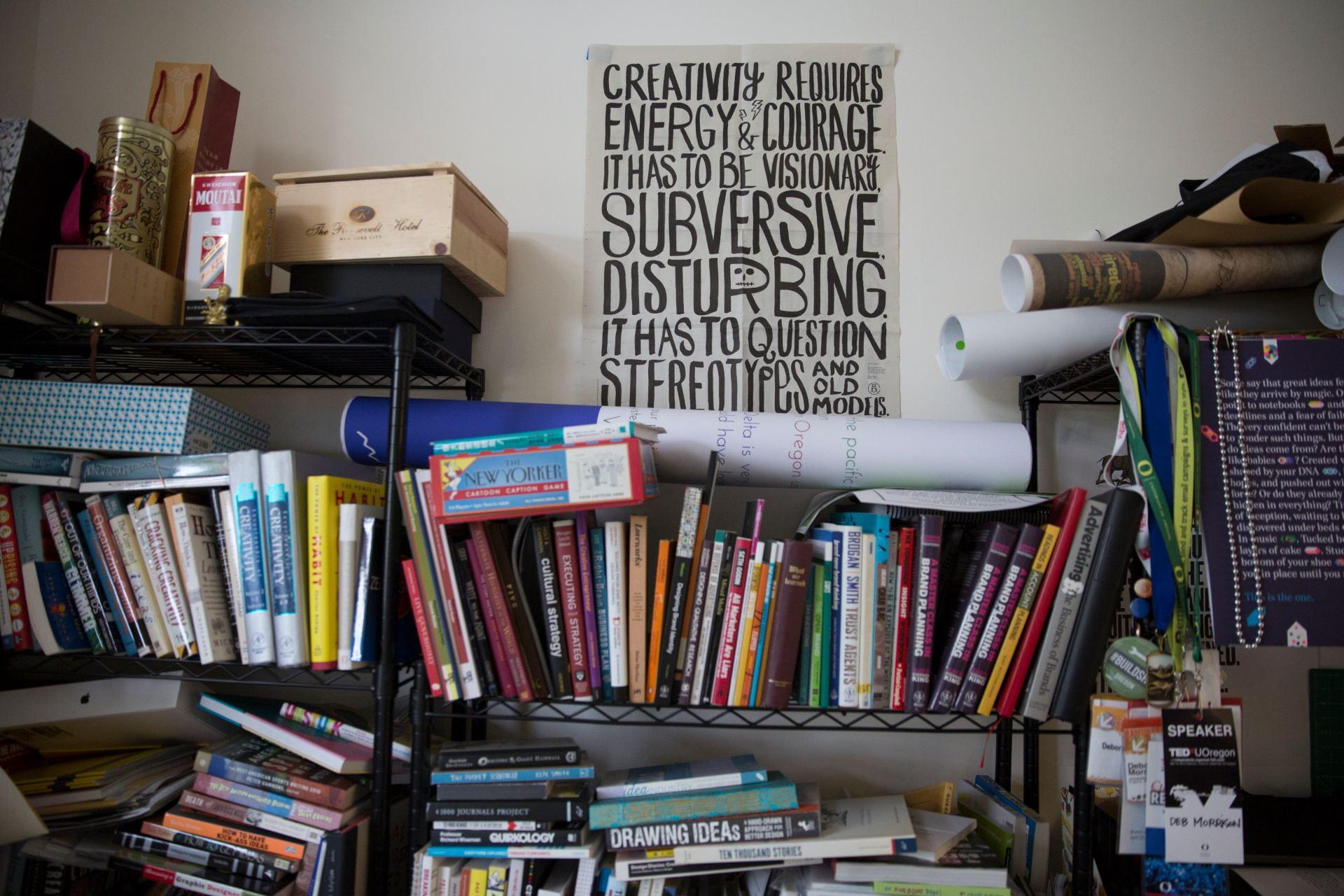 bookshelf in office