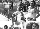 Black and white image of the program cover for the first annual Steve Prefontaine Classic track meet, held at Hayward Field on June 7, 1975. The cover features five photos of Prefontaine.