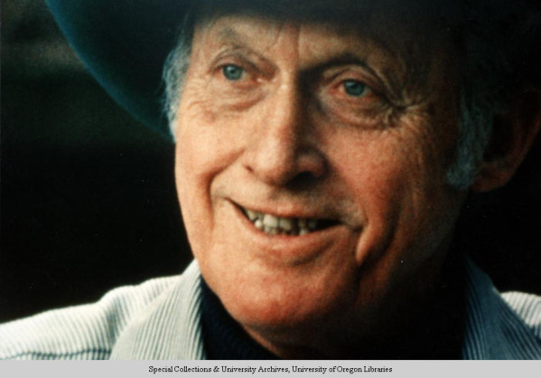 Color photo of University of Oregon track coach Bill Bowerman taken in the 1990s.