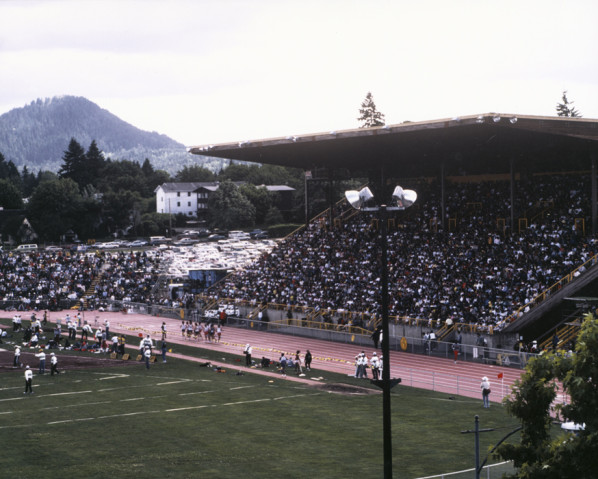 Color photo of the west grandstand and part of the track at Hayward Field taken during a 1989 meet.