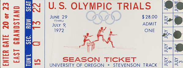 Color image of a season ticket to the 1972 U. S. track and field Olympic trials held at Hayward Field from June 29 to July 9.