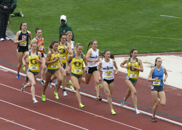 Color photo of five University of Oregon runners during the 1500 meter run at the Oregon Preview on March 16, 2013 at Hayward Field. From left are Megan Patrignelli, Laura Roesler, Taylor Wallace, Sarah Penney and Ashley Maton, who finished 6th, 3rd, 13th, 4th and 10th, respectively.