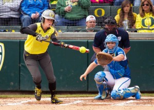 Alyssa Gillespie laying down a bunt during a game against UCLA on April 4, 2014 at Howe Field