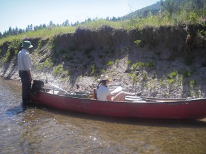 Jim O'Connor and Pollyanna Lind examining bank exposures on the Sprague River