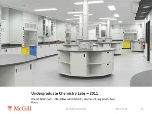 Recently renovated chemistry labs at McGill allow for collaborative, tech-enhanced learning.