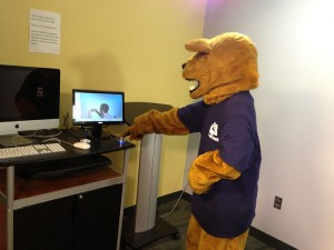 Penn State's mascot demonstrates the ease of the One Button Studio.