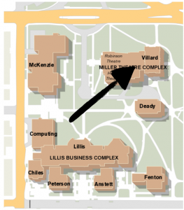 A screenshot of a map of the University of Oregon campus with a black arrow pointing to Villard Hall.