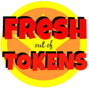 "The logo for the ""Fresh Out of Tokens"" podcast. A yellow star on a round orange background with a yellow border is behind block letters reading ""Fresh out of Tokens"" in red."