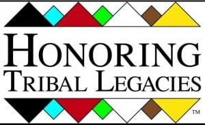 Multi-colored logo with geometric shapes that states Honoring Tribal Legacies