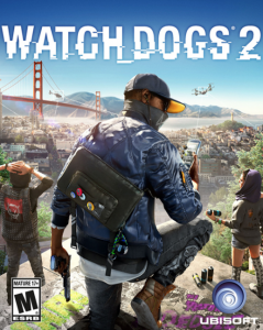 Image of the cover of the game Watch Dogs 2 by Ubisoft. It features a man holding a gun and crouching. His face is covered with a flat brimmed hat, sunglasses, and a face mask, and his back is to the viewer. He is wearing urban camouflage and has a messenger bag slung across his back. In the background we can see the Golden Age Bridge.