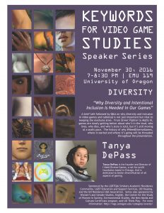 "The poster for ""Keywords for Video Game Studies."" The details of the job talk, like location and sponsors, is listed in white text against a purple background, while closeup images of video game characters of color are depicted on the lefthand bar."