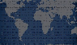 A flat map of the world pixelated to look as if the whole world is digital