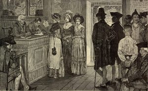 A woodcut of three women in 1800's dresses casting ballots with onlookers