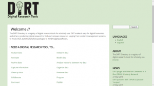 A screenshot of the DiRT Directory splash page