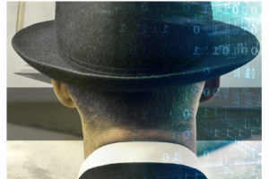 An image of a white man with short hair wearing a bowler hat and suit. Binary code on ethereal blue overlays the image.