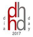 """Icon for Day of DH 2017. A lowercase dh sits over a lowercase hd. The letters on the left are red, the ones on the right are gray. On the left it reads """"dia"""" and on the right it reads """"day."""" The whole thing sits over 2017."""